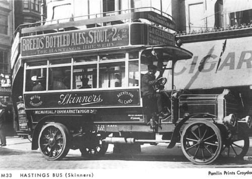 DY701 Skinners early open top d-d bus, Fishmarket