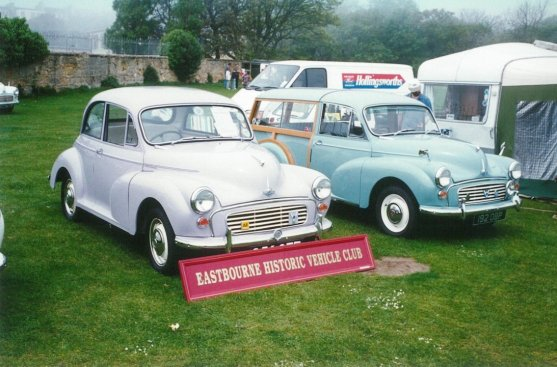 Morris minor 956STF & Traveller 192OBP front, Hastings 18-5-1997