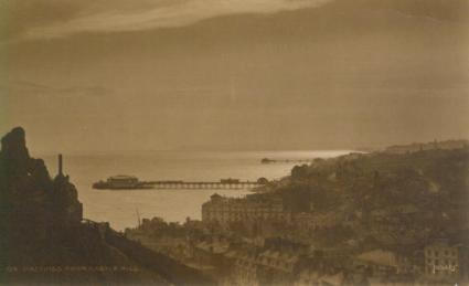 Town & piers west view at sunset, (Judges postcard)