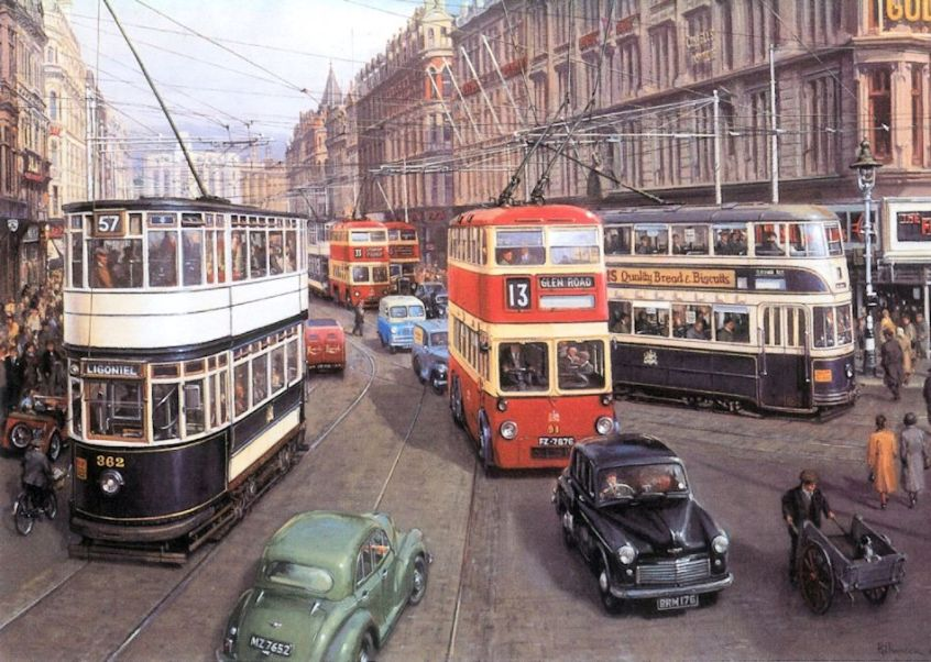 Trams & trolleybuses at Castle Junction, Royal Ave by R Pinnock