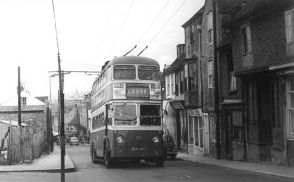 Trolley 55 Loose serv in Upper Stone St 19-4-1963