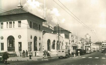 White Rock Pavilion from sw with 2 motor buses in distance