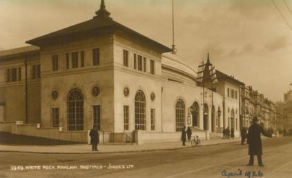 White Rock Pavilion from sw with policeman, April 1926