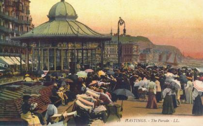 Bandstand & castel, White Rock Parade looking east, tinted pc, Edwardian period