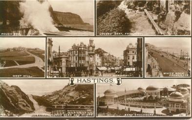 Multi-view (used postcard)Hastings -24-5-1931