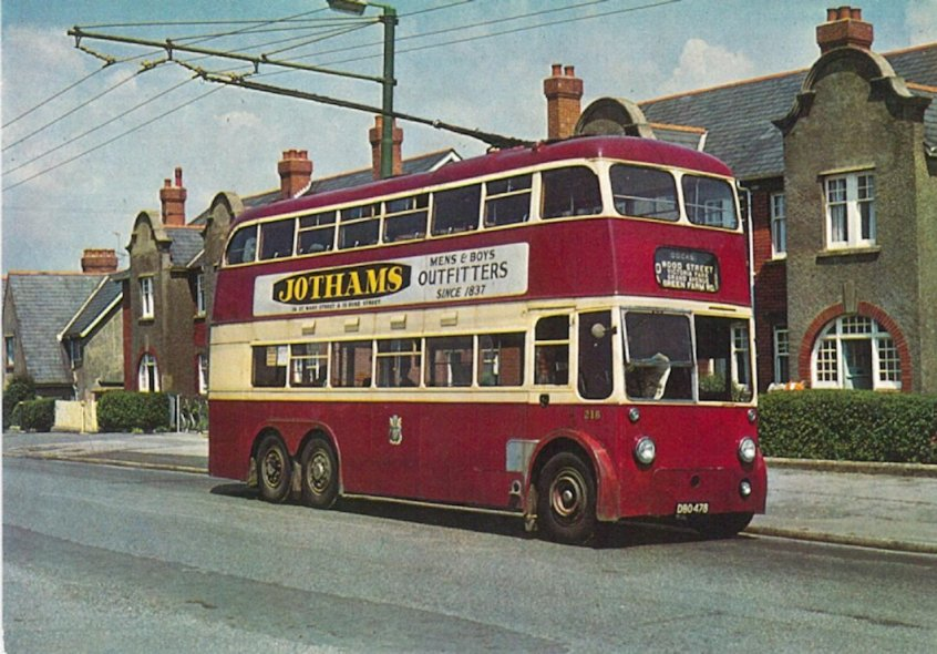 trolley 218 b1948 in Macdonald Rd, Cowbridge 31-5-1967