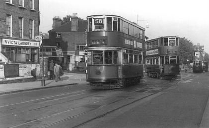 102 route 58 to Blackwall Tnl, 3 other trams + RT bus 28-9-1951