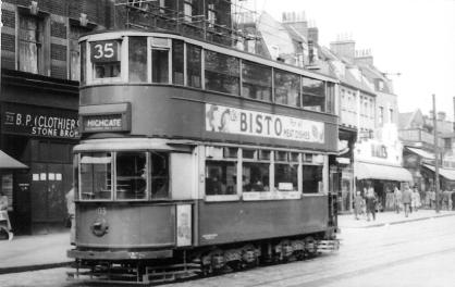 103 route 35 to Highgate in Islington, post-war