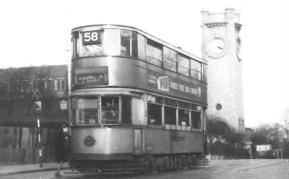 121 route 58 to Blackwall Tnl @ Hornimans, post-war