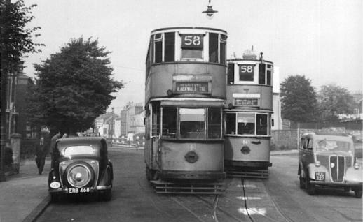 143 & 1863 pass on route 58 @ Greenwich 1951