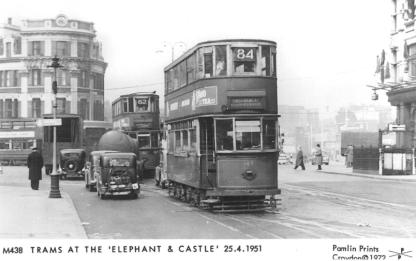 149 route 84 to Embankment with 62 tram behind, Elephant & Castle, 25-4-1951