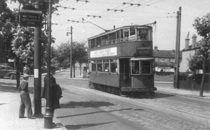 1941 serv 38 with tram-trolleybus stop 5-7-1952