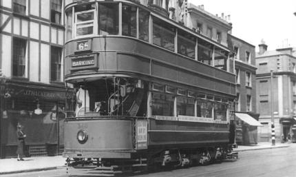 340 route 65 to Barking @ Bloomsbury, pre-war