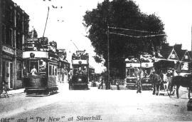 4 tram cars + horse cart, Silverhill