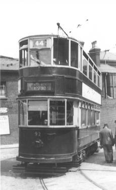 92 route 44 @ Woolwich, last tram week 7-1952