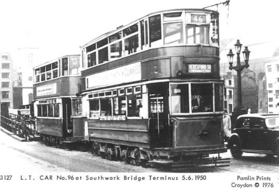 96 route 46 to Beresford Sq @ Southwark Bridge terminus 5-6-1950