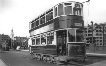 97 route 46 to Beresford Sq @ Southwark Bridge 6-6-1949