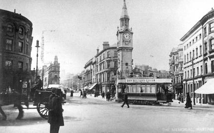 Albert Memorial from east, Cambridge-Havelock Rd junc, side view tram