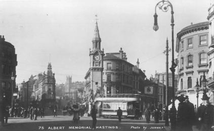 Albert Memoril looking up Cambridge Rd, side view of tram pc 1921