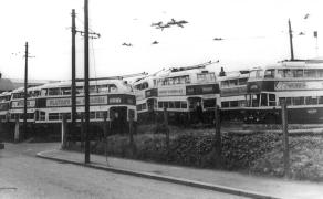 Double-decker trolleybuses after withdrawal, Silverhill Dep 1959