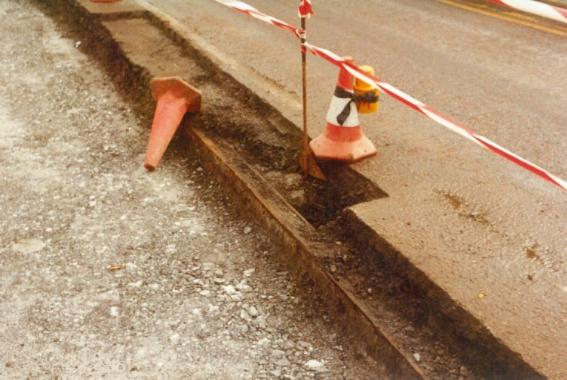 Insitu tram track exposed, Bexhill Rd 2-3-1984