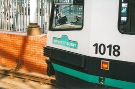 Metrolink 1018 Sir Matt Busby nameplate