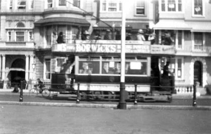 Side view, tram going east, Hastings seafront Easter 1921