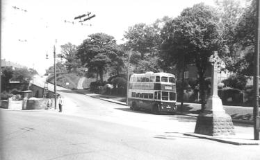 Sunbeam d-d trolleybus bottom Harold Rd on serv 11 c1958