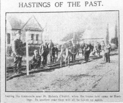 Track laying nr St Helen's Church, H&St Leo Obs 24-11-1928