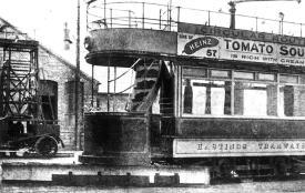 Tram & tower platform lorry, depot yard 1908