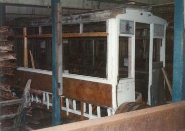 Tramcar body undergoing restoration