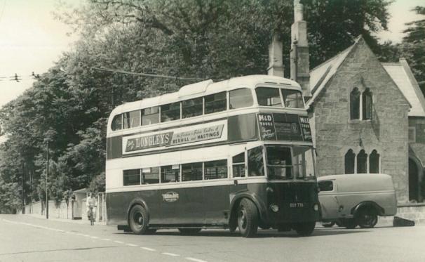 Trolley 1 BDY776 serv 11 to Hollington, St Helens c1958