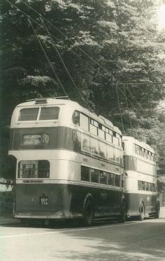 Trolley 1 BDY776 serv 11 to Hollington rear view with another, St Helens c1958
