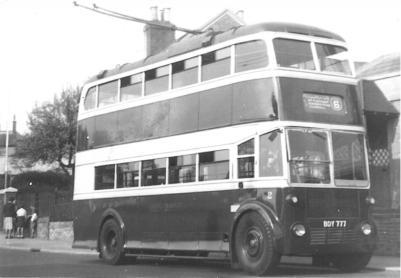 Trolley 2 BDY777 serv 6 to Hollington 20-10-1956
