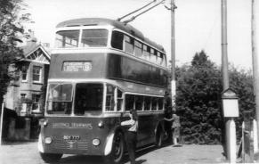 Trolley 2 serv 9 to St Helens @ Victoria Hotel turning point, Hollington, female staff, wartime