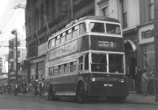 Trolley 40 BDY815 serv 8 to Cooden @ Memorial 6-9-1951