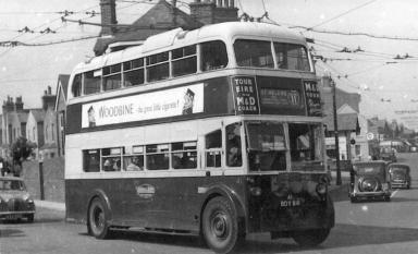Trolley 41 BDY816 serv 11 to St Helens @ Silverhill c1958