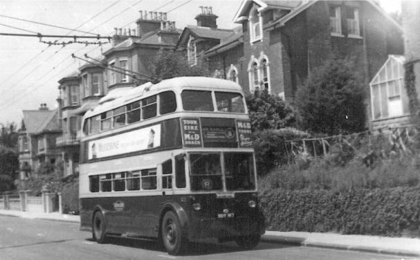 Trolley 42 BDY817 serv 8 to Bexhill in St Helens Park Rd c1958