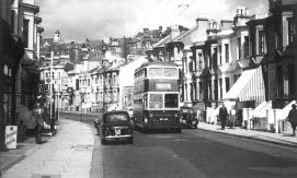 Trolley 45 BDY820 Bexhill serv in Queens Rd 19-9-1955