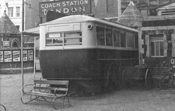 Trolley 45 as info & waiting rm, Hastings rear view 14-9-1958