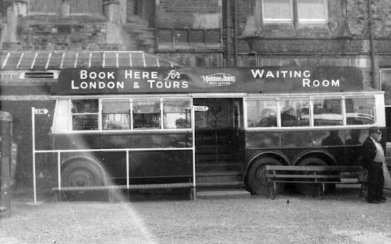 Trolley 45 as info & waiting rm, Hastings side view 14-5-1950