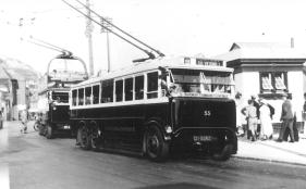 Trolley 55 @ Fishmarket serv 9 to Silverhill, d-d trolley to Hollington