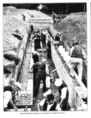 Making shelter trenches on the Down for school children 1939