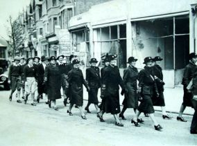Joyce Alexander [3rd from right] 1941 May 24 War Weapons Week parade
