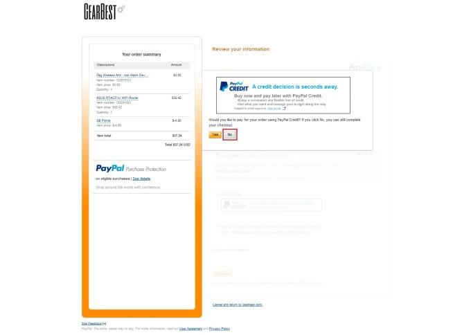 Paypal Creditで支払う場合はYes,クレジットカードで支払う場合はNoを押します