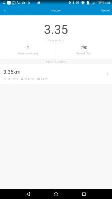 運動の一覧が表示されてトータル走行距離・カロリー・セッションを上に表示