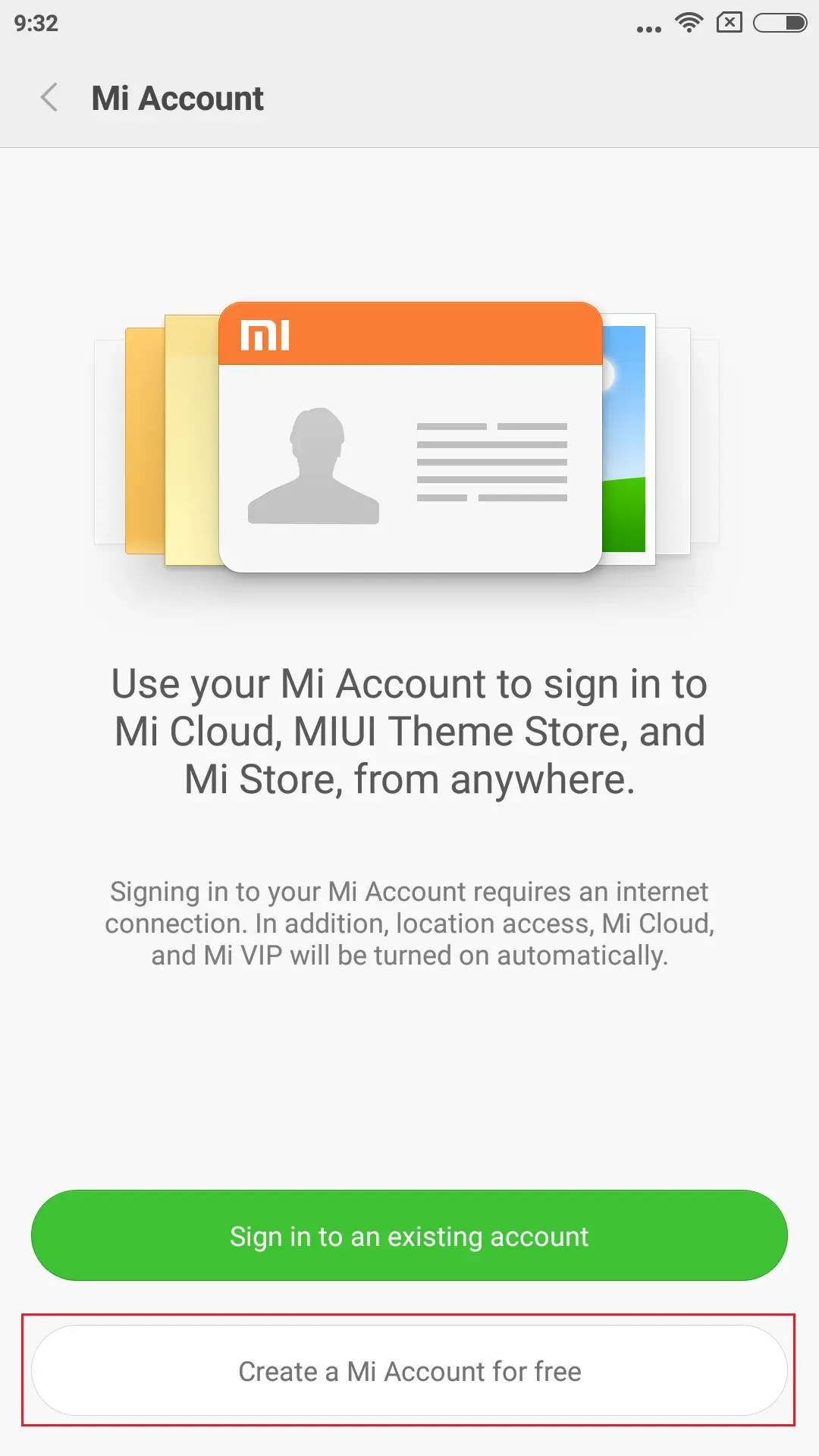 Create a Mi Account for freeを選択