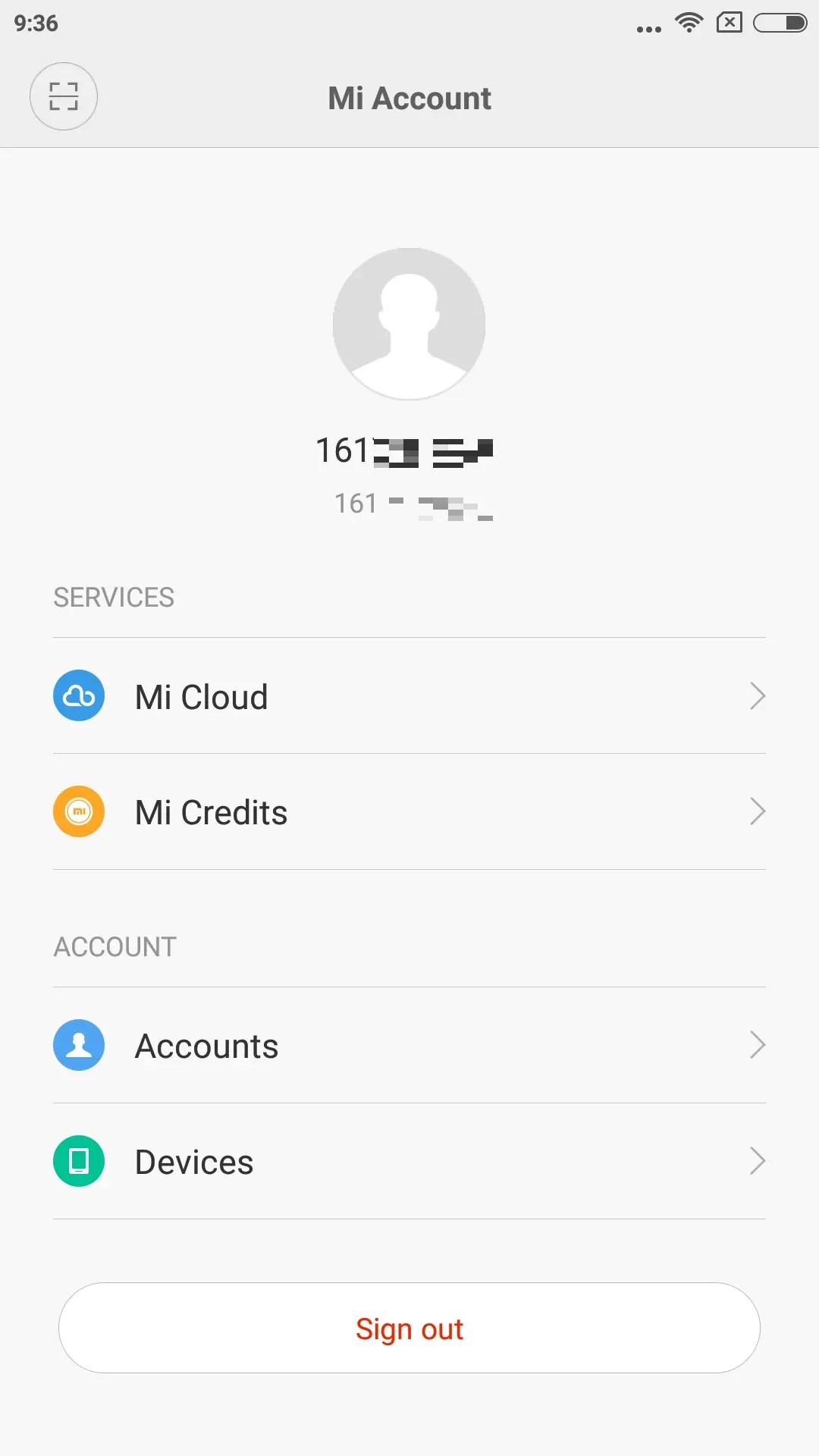 Mi Accountのホーム画面、IDの部分をタップするとプロフィールを設定できる