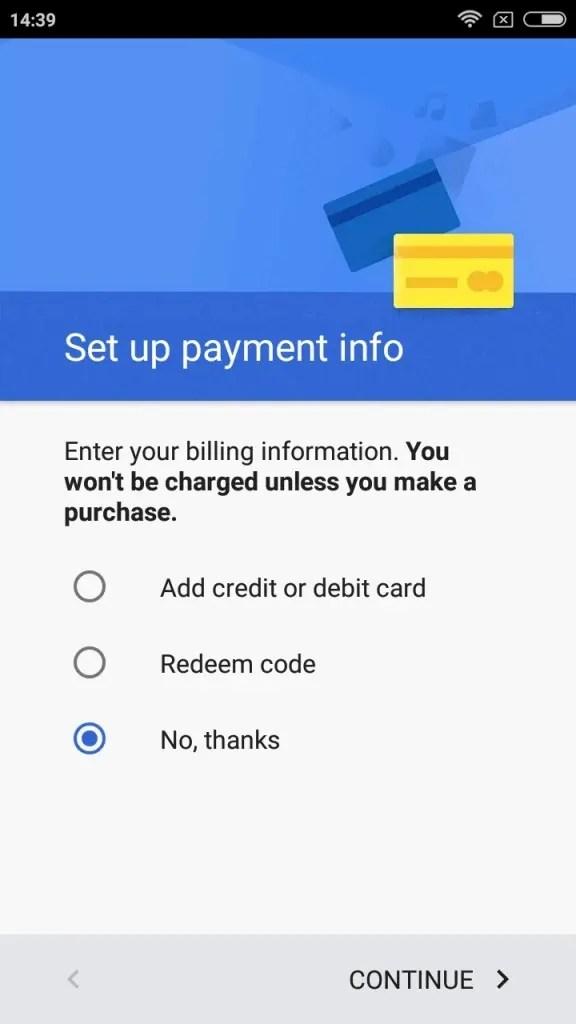 クレジットカードの登録はこのスマホでは支払わないのでスキップする