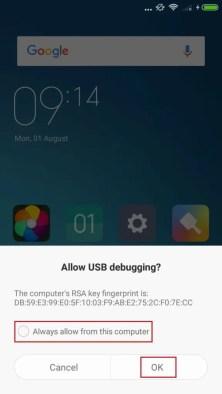 USB debuggingを許可するかと聞かれるのでOKをタップする